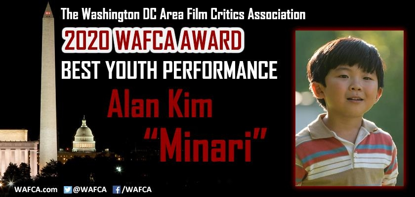 "This image captured from the Twitter account of the Washington, D.C. Area Film Association (WAFCA) shows Alan Kim of ""Minari"" winning best youth performance at the 2020 WAFCA Award on Feb. 8, 2021. (PHOTO NOT FOR SALE) (Yonhap)"