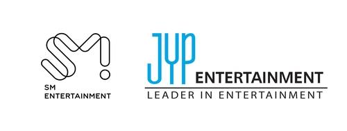 This image, provided by SM Entertainment and JYP Entertainment, shows the company logos for the two companies, respectively. (PHOTO NOT FOR SALE) (Yonhap)