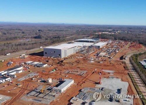 SK Innovation Co.'s electric vehicle battery plant under construction in the U.S. state of Georgia is seen in this photo provided by the company on Aug. 28, 2020. (PHOTO NOT FOR SALE) (Yonhap)