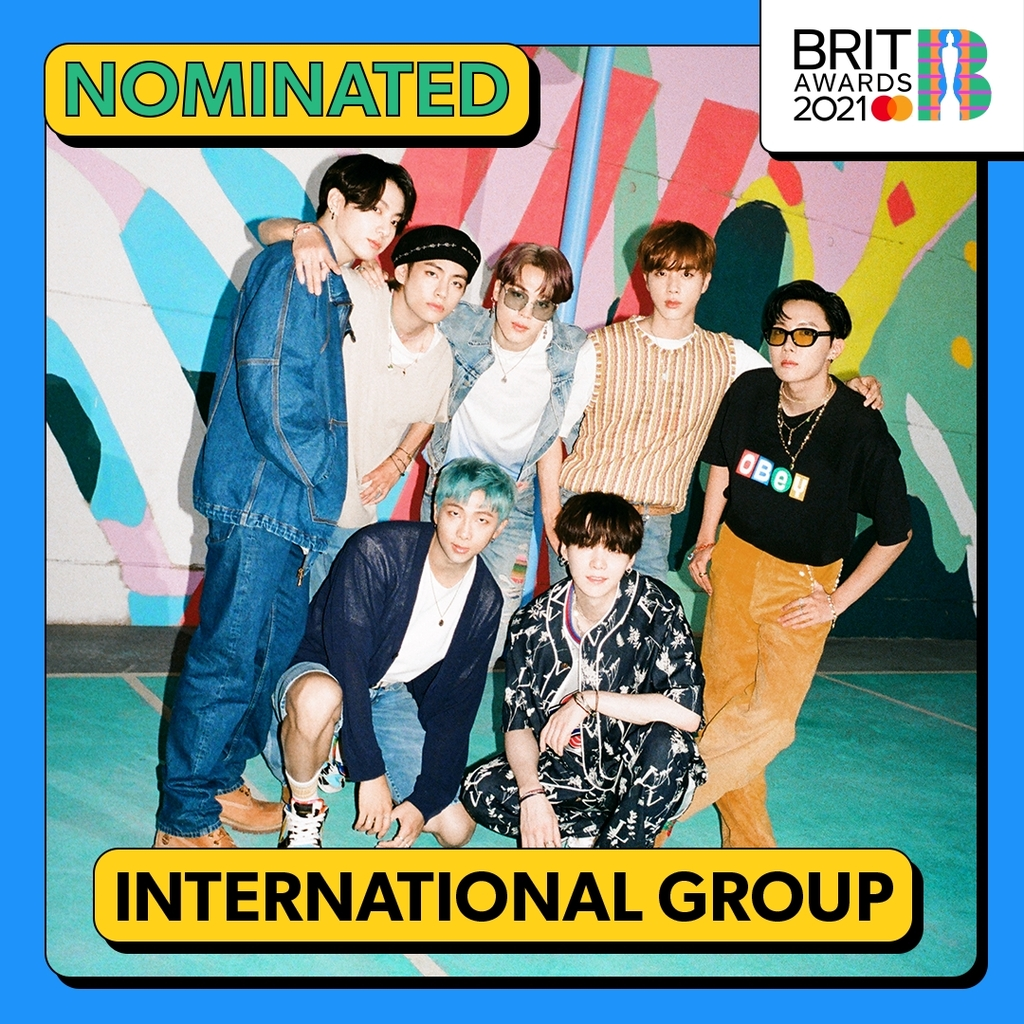 This image, provided by the Brit Awards via Big Hit Music, shows BTS nominated for an international group prize in the upcoming awards ceremony scheduled for May 11, 2021. (PHOTO NOT FOR SALE)(Yonhap)