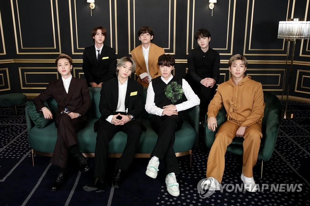 This photo, provided by Big Hit Music, shows K-pop megastar BTS taking part in the 63rd Grammy Awards online amid the coronavirus pandemic on March 15, 2021. (PHOTO NOT FOR SALE) (Yonhap)
