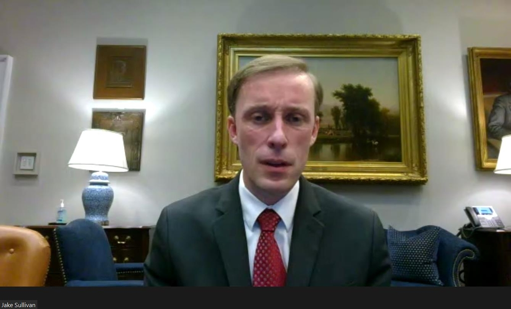 The captured image shows National Security Adviser Jake Sullivan speaking in a webinar hosted by the Aspen Institute, a Colorado-based think tank, on April 30, 2021. (Yonhap)