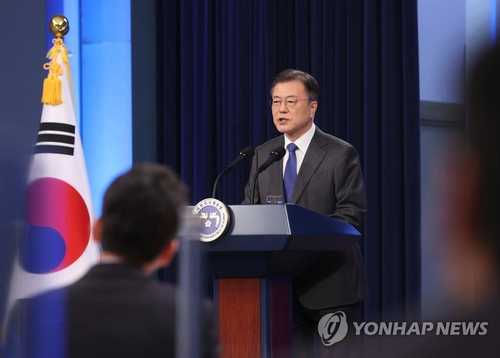 President Moon Jae-in delivers a special address at the Chunchugwan press room of Cheong Wa Dae in Seoul on May 10, 2021. (Yonhap)