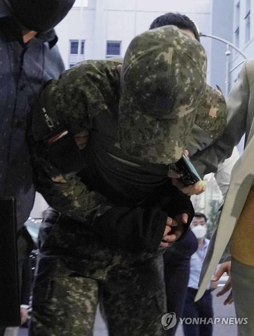 An Air Force officer is taken to a military court in Seoul on June 2, 2021, to attend a hearing to review whether a arrest warrant will be issued over his alleged sexual harassment of a female colleague, which caused her to take her own life in May, in this photo provided by the defense ministry. (PHOTO NOT FOR SALE) (Yonhap)