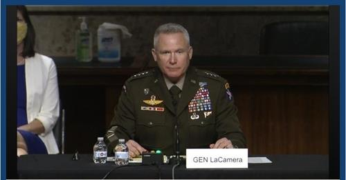The image captured from the website of the Senate Armed Services Committee shows Gen. Paul LaCamera, commander of U.S. Army Pacific, at a Senate Armed Services Committee hearing in Washington on May 18, 2021, on his nomination as commander of U.S. Forces Korea. (Yonhap)