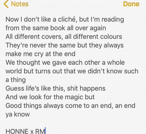 Les paroles de la nouvelle chanson issue de la collaboration entre Honne et RM de BTS.