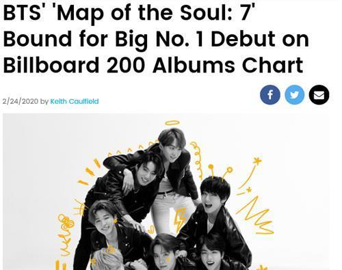 «Map of the Soul: 7» de BTS en route vers le sommet du Billboard 200