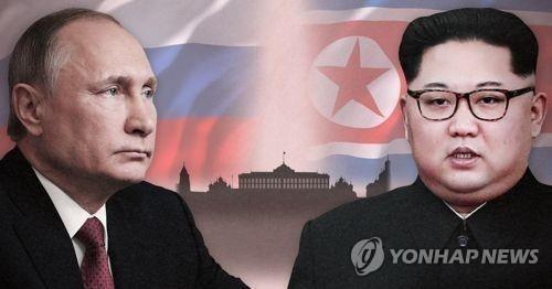 プーチン大統領(左)と金員長(コラージュ)=(聯合ニュース)