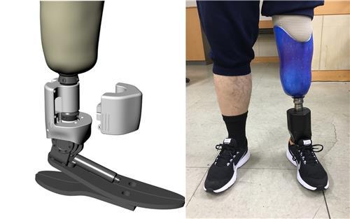 상용화에 성공한 스마트로봇 의족 개념도(왼쪽)와 실제 출시된 제품. 의족을 착용하고 운동화를 신었을 때 사람 발목 크기와 비슷하다. [한국기계연구원 제공=연합뉴스]