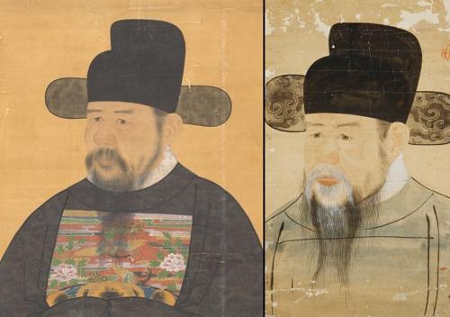 이항복 위성공신상 후모본(왼쪽)과 서울대 박물관 초상화