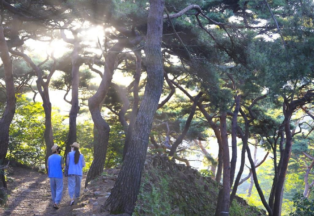 정족산성 위를 걷는 모녀 [사진/성연재 기자]