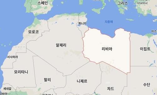 북아프리카 리비아가 포함된 지도