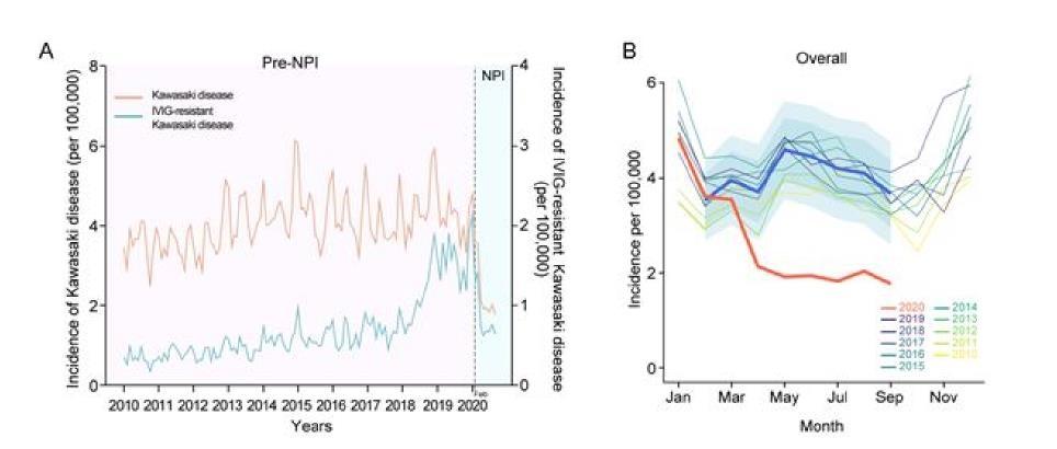 (서울=연합뉴스) 2020년 2월부터 코로나19 관련 마스크 착용, 손 씻기 등 비약물적 중재가 시행된 이후 가와사키병이 급격히 줄어드는 것이 확인됐다.(A) 붉은 선은 10만명당 발생률이고 파란선은 정맥 내 면역 글로불린 내성 가와사키병이다. 인구 10만명당 월별 발생률 (B) 역시 예측 발생률(파란색)보다 실제 발생률(붉은선)이 확연히 줄어들었다. 2021.06.09. [세브란스병원 제공. 재판매 및 DB 금지]