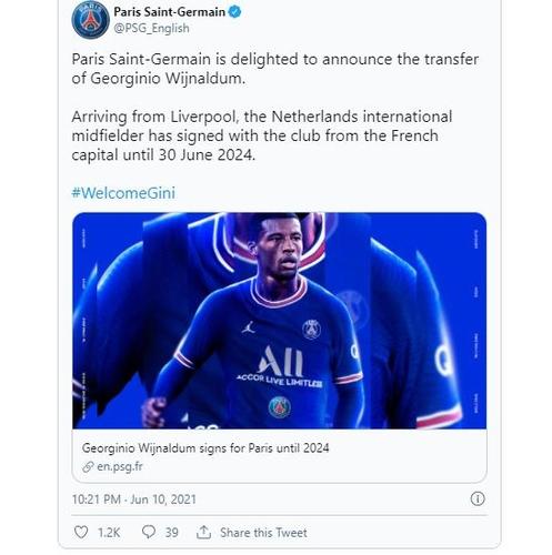 PSG announced the signing of Wijnaldum.
