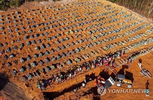 코로나19로 숨진 환자의 관이 모이는 브라질의 공동묘지