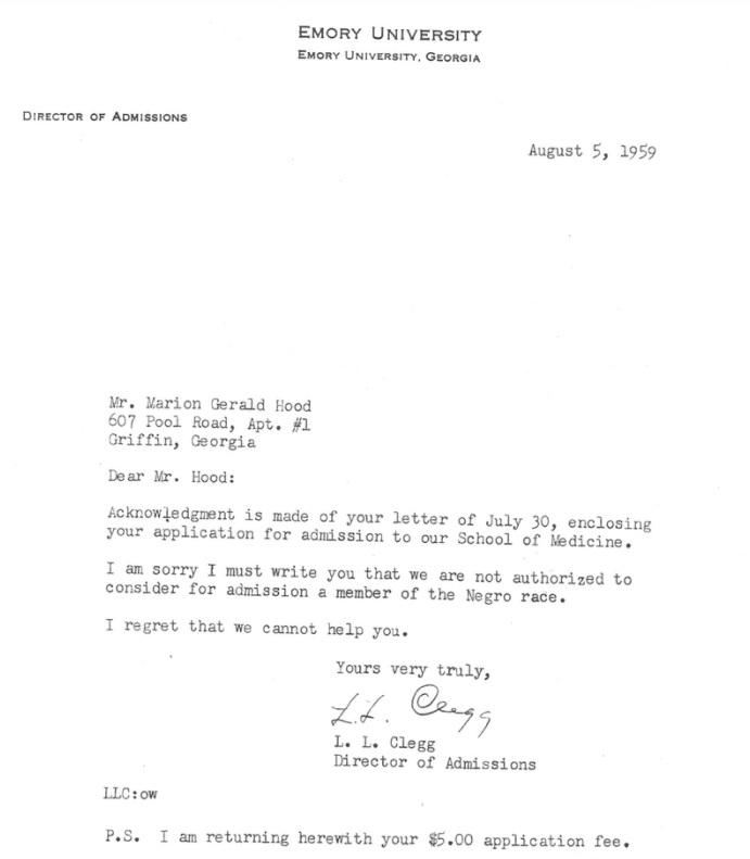 에모리 의대 입학처가 1959년 흑인 학생 매리언 후드에게 보낸 입학 거절 통지서. 거절 사유에 '니그로'(Negro)라고 적혀 있다. [애틀랜타저널컨스티튜션 웹사이트 캡처. 재판매 및 DB 금지]