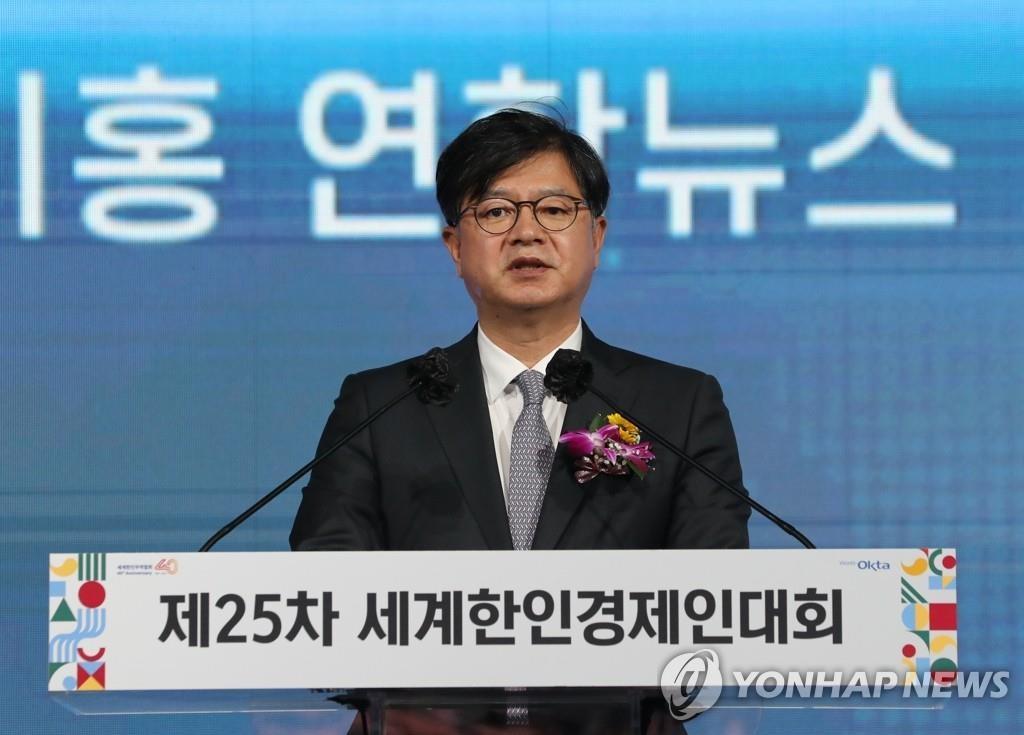환영사 하는 성기홍 연합뉴스 사장