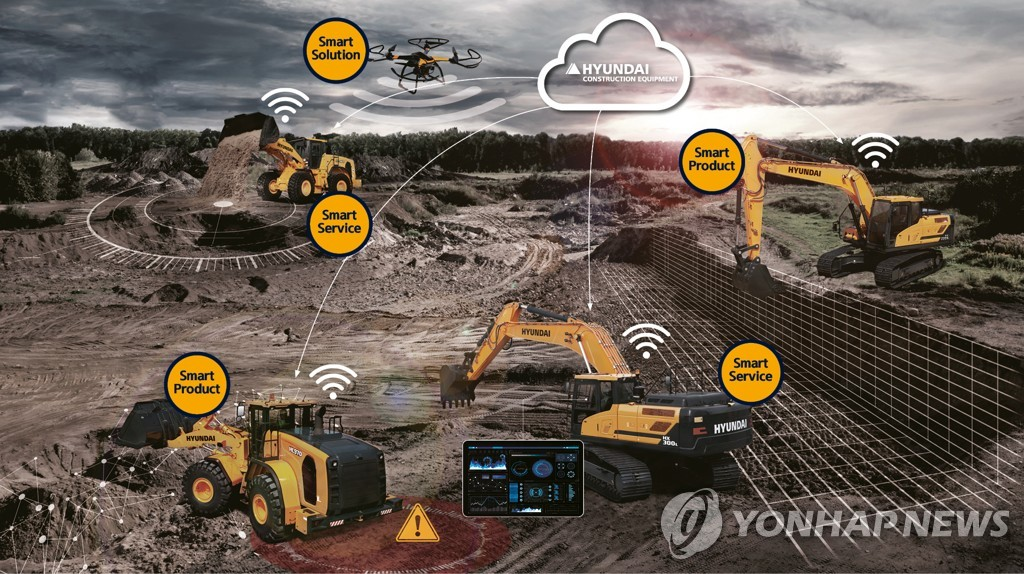 This image provided by Hyundai Construction Equipment Co., shows a concept of smart construction. (PHOTO NOT FOR SALE) (Yonhap)