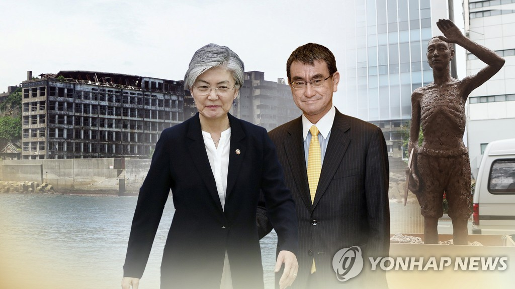This image, provided by Yonhap News TV, shows South Korea's Foreign Minister, Kang Kyung-wha (L), and her Japanese counterpart, Taro Kono. (Yonhap)