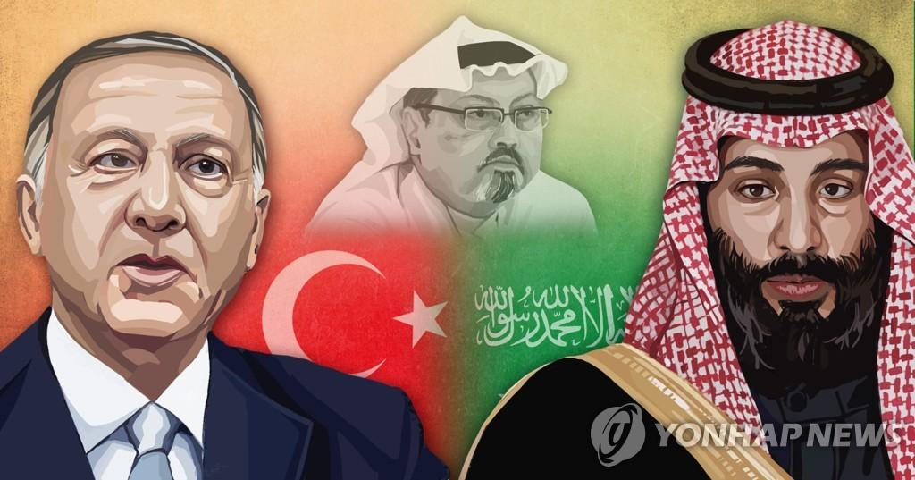 카슈끄지 피살사건_에르도안 터키 대통령-무함마드 빈 살만 사우디 왕세자 (PG)