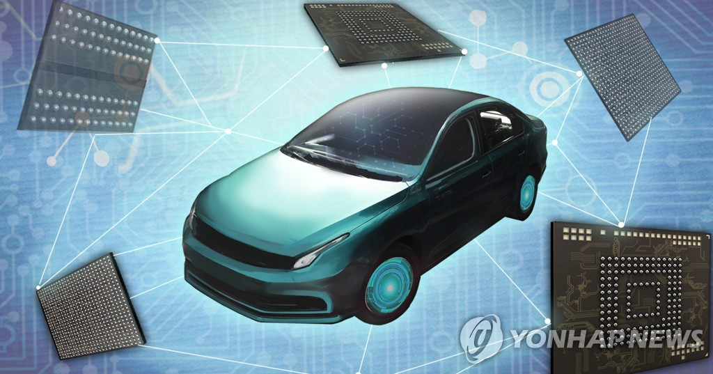 This image illustrates semiconductor chips for autonomous vehicles. (Yonhap)