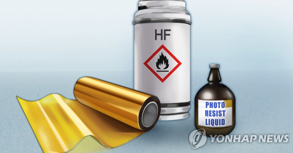 This illustration shows the three high-tech materials subject to Japan's stricter export regulations -- fluorinated polyimide, photoresist and etching gas. (Yonhap)