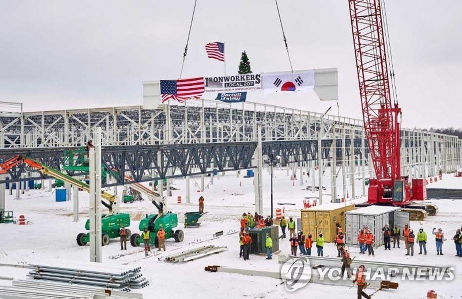 LG에너지솔루션-GM 합작법인 '얼티엄셀즈' 미국 오하이오주 배터리 공장 건설 현장