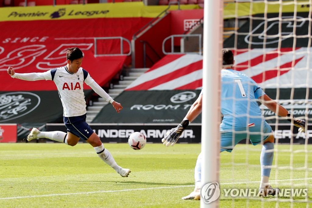 In this EPA file photo from Sept. 20, 2020, Son Heung-min of Tottenham Hotspur (L) scores his fourth goal against Southampton during a Premier League match at St Mary's Stadium in Southampton, England, on Sept. 20, 2020. (Yonhap)