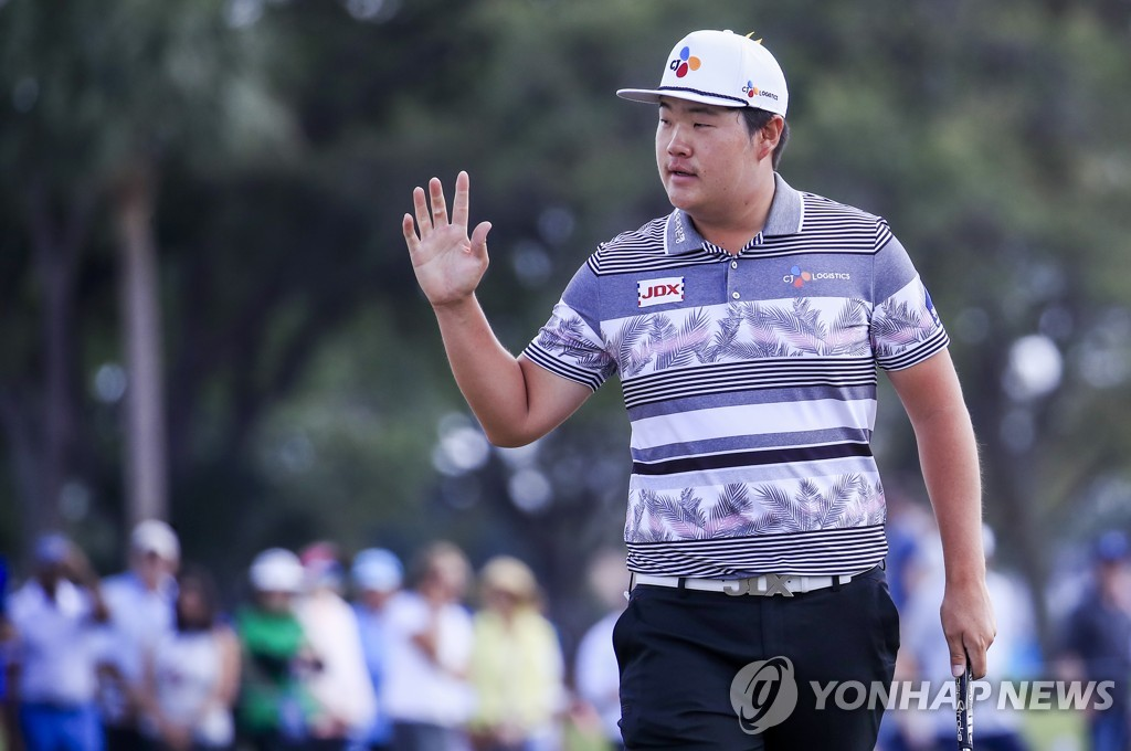 In this EPA photo, Im Sung-jae of South Korea reacts after making a putt during the final round of the Honda Classic at PGA National Resort and Spa Champion course in Palm Beach Gardens, Florida, on March 1, 2020. (Yonhap)