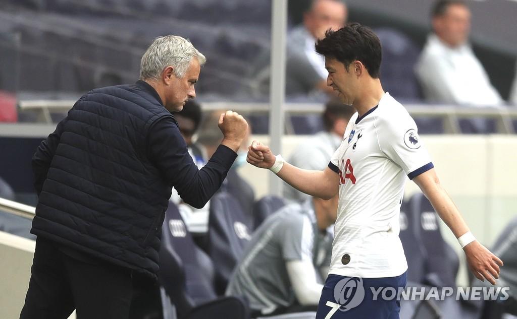 토트넘의 조제 모리뉴 감독과 인사하는 손흥민