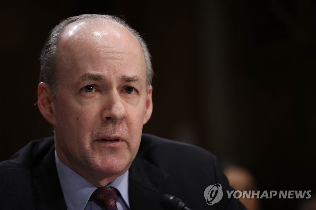This AFP photo, taken Nov. 14, 2017, shows Brian McKeon, former principal deputy undersecretary of defense for policy, testifying before the Senate Foreign Relations Committee. (PHOTO NOT FOR SALE) (Yonhap)