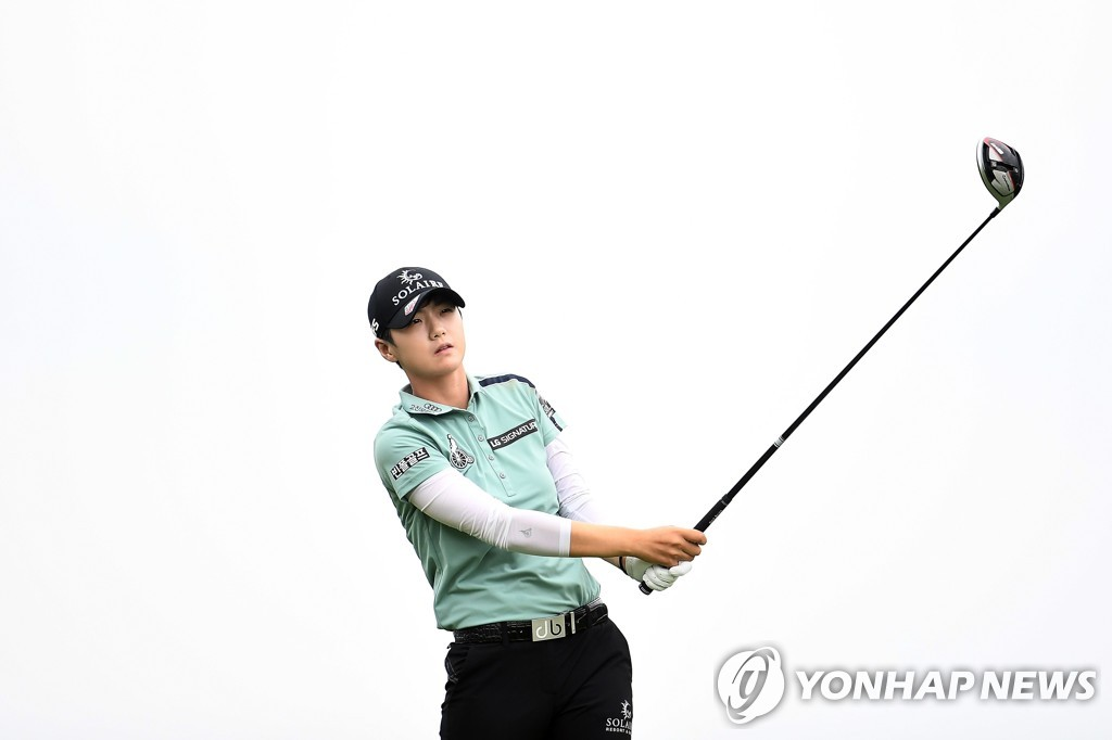 In this AFP photo, Park Sung-hyun of South Korea watches her tee shot on the third hole during the final round of the KPMG Women's PGA Championship at Hazeltine National Golf Club in Chaska, Minnesota, on June 23, 2019. (Yonhap)