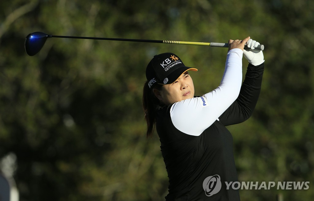 In this Getty Images file photo from Oct. 1, 2020, Park In-bee of South Korea hits her drive on the first hole during the first round of the ShopRite LPGA Classic on the Bay Course at Seaview Hotel and Golf Club in Galloway, New Jersey. (Yonhap)