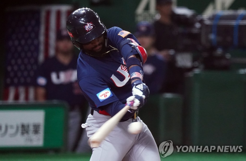In this Penta Press file photo from Nov. 12, 2019, Jo Adell of the United States hits a solo home run against Japan in the top of the seventh inning of the teams' Super Round game at the World Baseball Softball Confederation (WBSC) Premier12 at Tokyo Dome in Tokyo. (Yonhap)