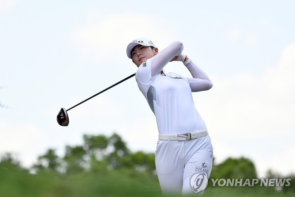In this Reuters file photo via USA Today Sports from June 1, 2019, Park Sung-hyun of South Korea tees off on the fifth hole during the third round of the U.S. Women's Open at the Country Club of Charleston in Charleston, South Carolina. (PHOTO NOT FOR SALE) (Yonhap)