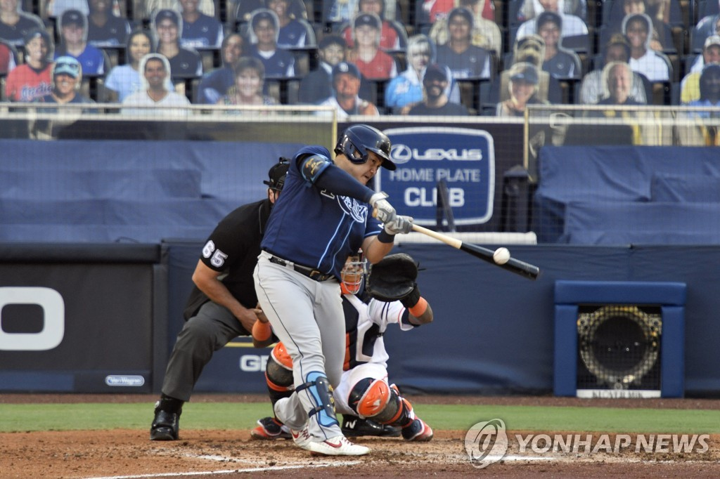 In this USA TODAY Sports photo via Reuters, Choi Ji-man of the Tampa Bay Rays hits a single against the Houston Astros during the top of the fifth inning of Game 5 of the American League Championship Series at Petco Park in San Diego on Oct. 15, 2020. (Yonhap)