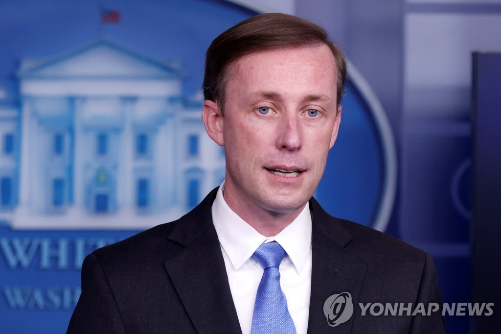 The Reuters photo, taken Feb, 4, 2021, shows U.S. National Security Adviser Jake Sullivan speaking in a press briefing at the White House in Washington. (Yonhap)