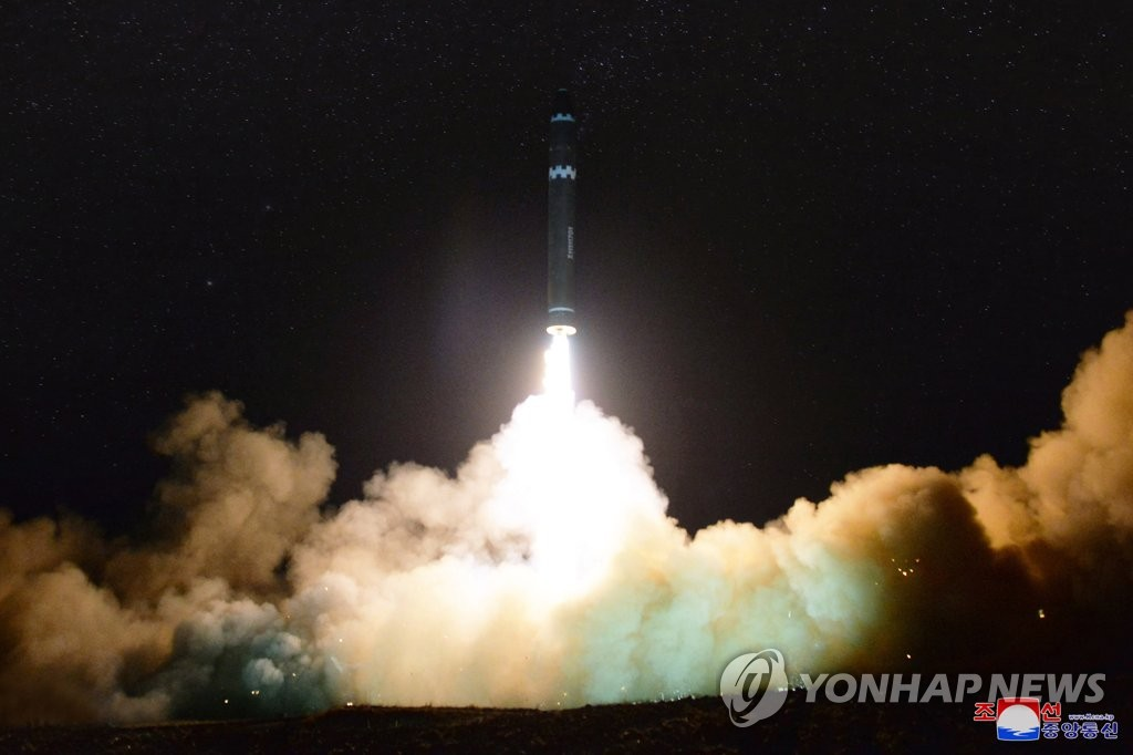 Shown is a photo of the test-firing of North Korea's Hwasong-15 intercontinental ballistic missile on Nov. 29, 2017. The photo was released by the North's official Korean Central News Agency later in the day. (For Use Only in the Republic of Korea. No Redistribution) (Yonhap)