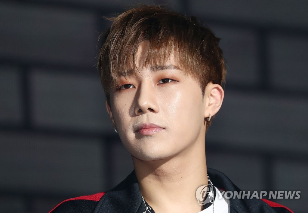 """This file photo shows Sungkyu, a member of South Korean boy band INFINITE, attending a showcase for his first solo album """"10 Stories"""" in Seoul on Feb. 26, 2018. (Yonhap)"""