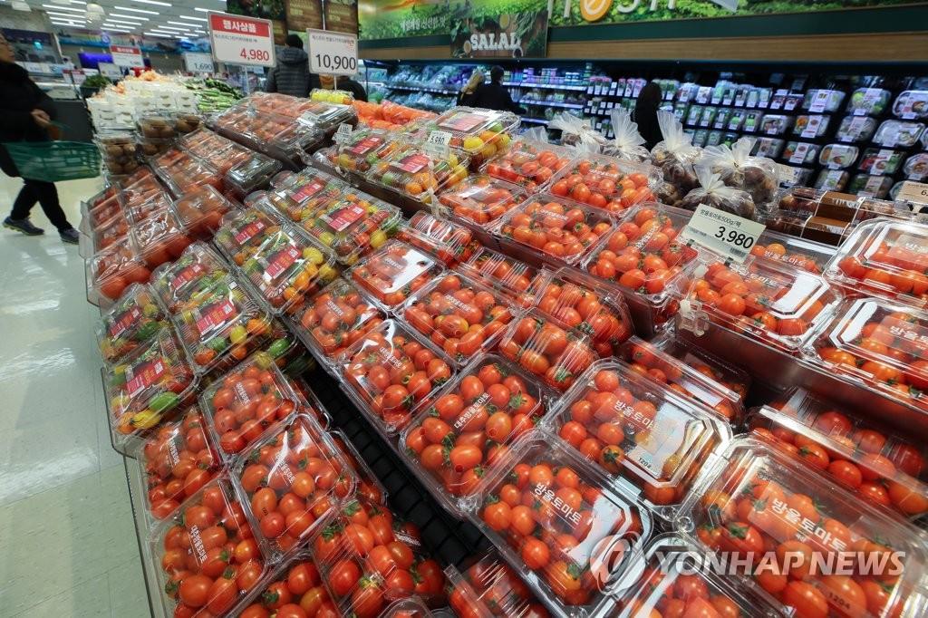 서울 시내 마트 토마토 판매대 [연합뉴스 자료사진]
