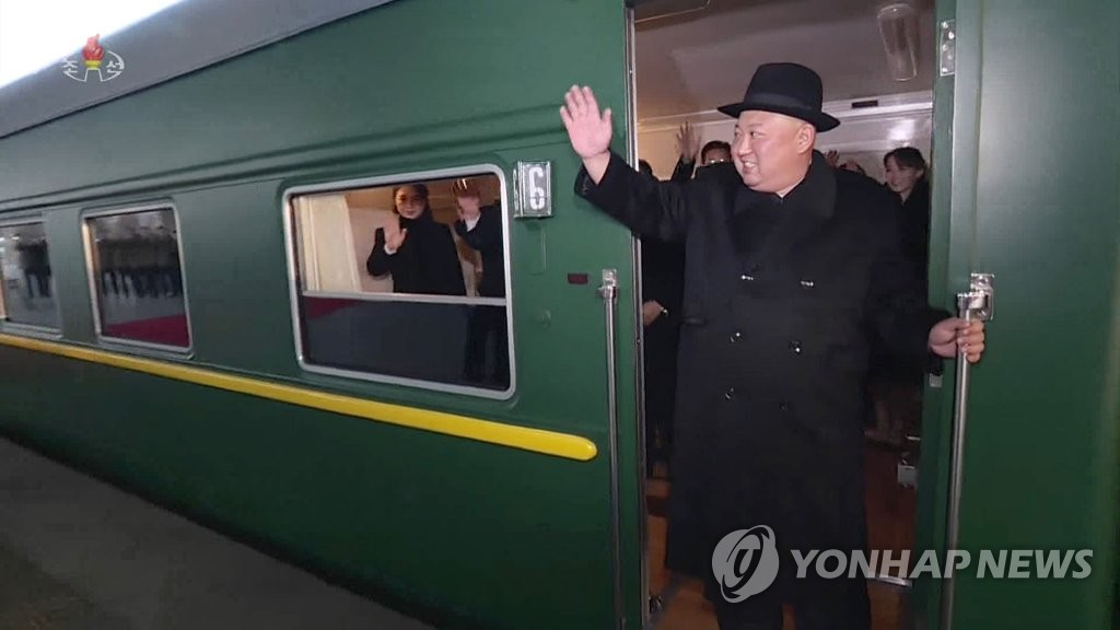 This image from North Korean state TV shows North Korean leader Kim Jong-un on a train departing Pyongyang for Beijing on Jan. 7, 2019. (For Use Only in the Republic of Korea. No Redistribution.) (Yonhap)