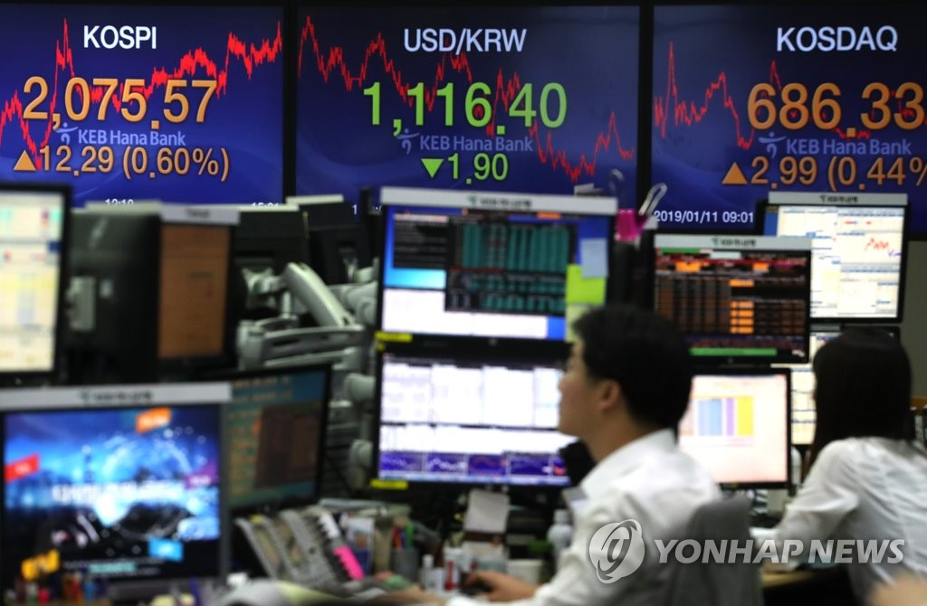 ▲This photo taken on Jan. 11, 2019 shows dealers at KEB Hana Bank's dealing room in central Seoul, with bulletin sign boards showing closing figures of the KOSPI index and the won against the dollar.▲(Yonhap)