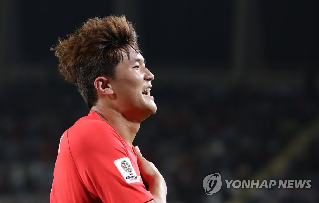 This file photo taken on Jan. 16, 2019, shows South Korea national football team defender Kim Min-jae celebrating after scoring a goal against China at the 2019 AFC Asian Cup in Abu Dhabi, United Arab Emirates. (Yonhap)