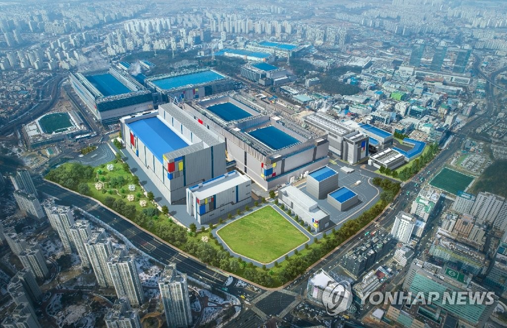 This photo provided by Samsung Electronics Co. on April 16, 2019, shows a computer-generated image of its fabrication line in Hwaseong, south of Seoul.