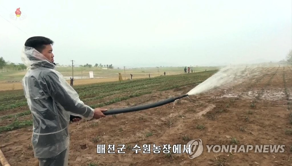 This picture captured on May 15, 2019 from North Korea's state TV shows a farmer supplying water to a farm land stricken by drought. (For Use Only in the Republic of Korea. No Redistribution) (Yonhap)