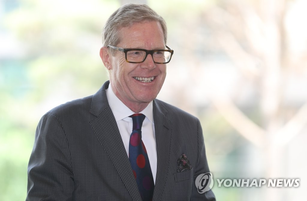 Swiss Ambassador to South Korea Linus von Castelmur smiles as he speaks during a press conference on the opening of the new embassy compound in central Seoul, on May 16, 2019. (Yonhap)