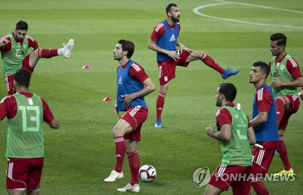 Iran national football team players train at Seoul World Cup Stadium in Seoul on June 10, 2019, one day ahead of his team's friendly football match against South Korea. (Yonhap)