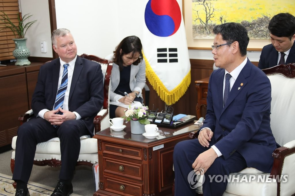 Unification Minister Kim Yeon-chul (R) and U.S. Special Representative for North Korea Stephen Biegun hold a meeting at the government complex in Seoul on June 28, 2019. (Yonhap)