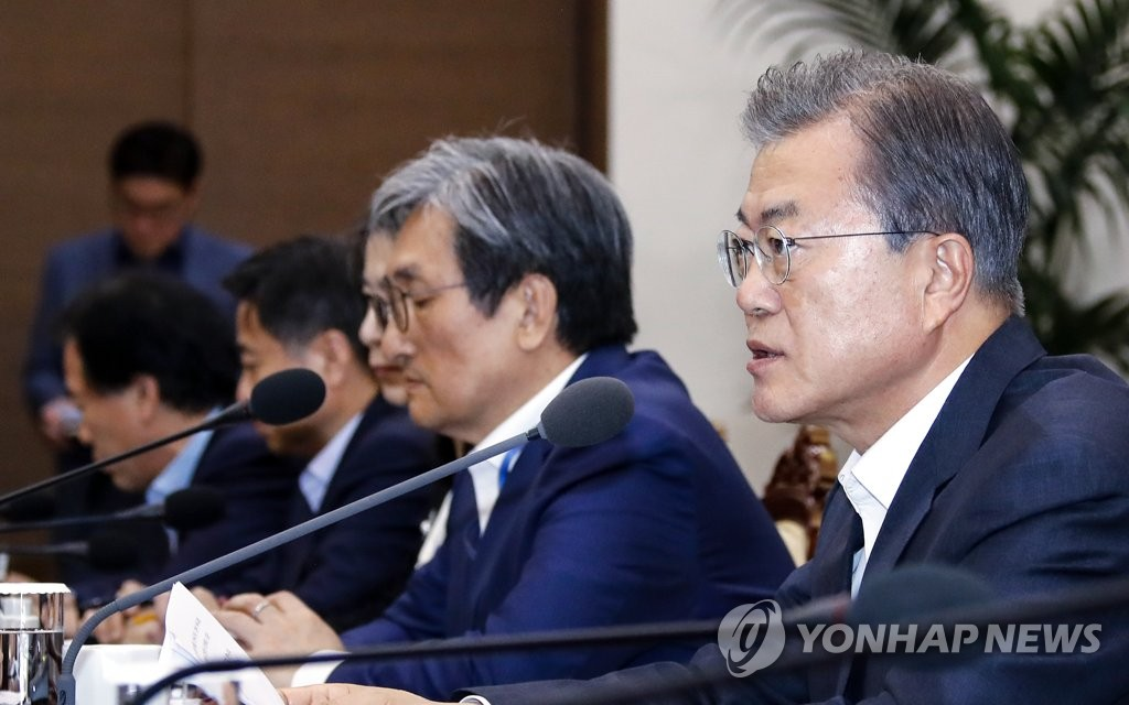 President Moon Jae-in speaks at a meeting with senior Cheong Wa Dae aides at his office on July 8, 2019. (Yonhap)