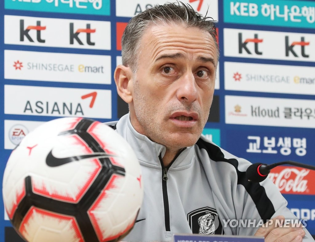 South Korea men's national football team head coach Paulo Bento speaks at a press conference at Hwaseong Sports Complex Main Stadium in Hwaseong, south of Seoul, on Oct. 9, 2019, one day ahead of South Korea's match against Sri Lanka in the second round of the Asian qualifying for the 2022 FIFA World Cup. (Yonhap)